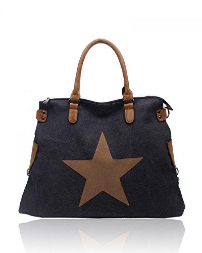 LeahWard® Groß Schule Taschen Damen Segeltuch Schultertasche Handtasche A4 160163 160164 Schwarz Schultertasche