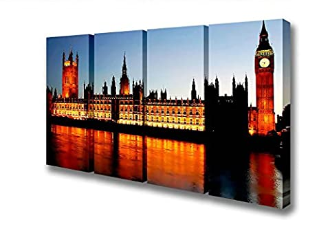 Four Panel Reflections Of London Houses Of Parliament Night Lights Canvas Art Prints - Extra Large 40 x 80 inches