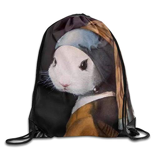 DHNKW Rabbit with Pearl Earring Drawstring Backpack Rucksack Shoulder Bags Training Gym Sack for Man and Women North Face Pearl