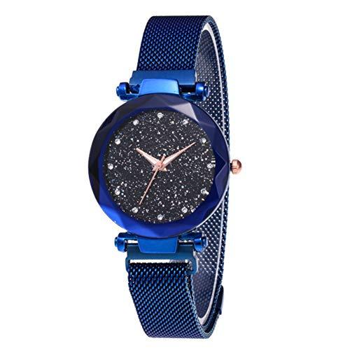 MENGZHEN 1 PC Reloj Impermeable para Mujer, con Forma de Estrella, con luz, con Esfera, Reloj de Pulsera Sky Star + Pulsera con Estilo Simple de Pentagrama (Blue)