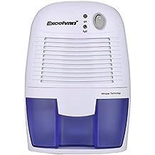 Excelvan xROM 600A - Deshumidificador de Aire Mini Secadora (500ml, Portátil, 10-20㎡, ABS+PP, Bajo Consumo, Silencioso, para Casa, Baño, Cocina, Garaje), Blanco