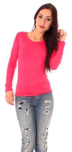 Easy Young Fashion Damen Basic Langarm Jersey T-Shirt Rundhals Ausschnitt Unterziehshirt Enganliegend Einfarbig M - 38 Pink (Jersey Pink Fashion)