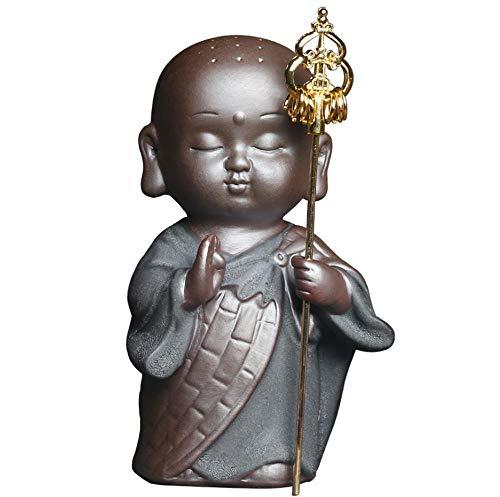 HIOLYU Zen Walker Kleiner ABT Keramik Kleiner Mönch Tee Haustier kleine Ornamente Einrichtung Buddha Auto nach Hause Tee-Set - Abt Tee