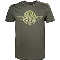STAR WARS Yoda Word Play T- T-Shirt, Vert (Green), Large Homme