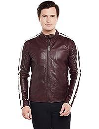 Bareskin Dual White Strips Wine Leather Men Jacket