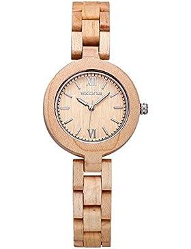AMPM24 Damen Armbanduhr aus Holz Beige Casual Damenuhr Holzuhr WDW004 mit AMPM24 Logo Box