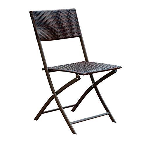 Ayanx Chaise Pliante extérieure, Fauteuil en rotin Fait Main et Fer pour Jardin/Balcon/terrasse/Camping 46 * 46 * 86cm (Hauteur),Lotof2