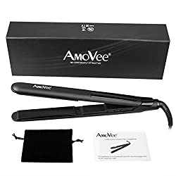 LCD Ceramic Hair Straightener, AmoVee Professional Flat Iron with Ceramic Plates 1 Inch, Black