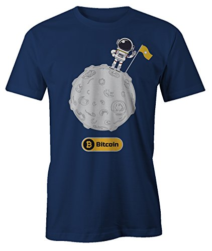 Astronaut To The Moon Trader Bitcoin Cryptocurrency Btc Ltc Digital Currency T-Shirt Camiseta Hombres Azul marino Large