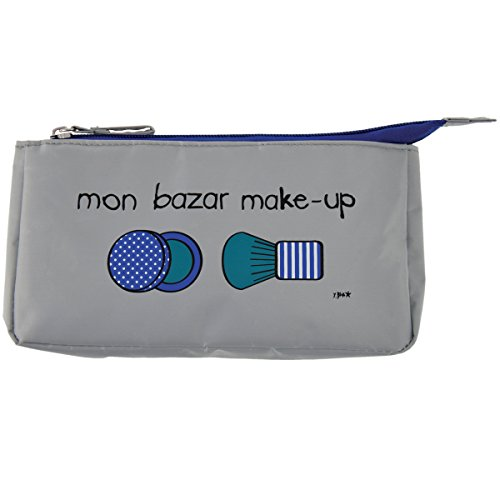 Incidence Paris 61871 Trousse à maquillage Mon bazar make-up Gris et bleu Nylon Fermeture zip, 20 cm, Gris