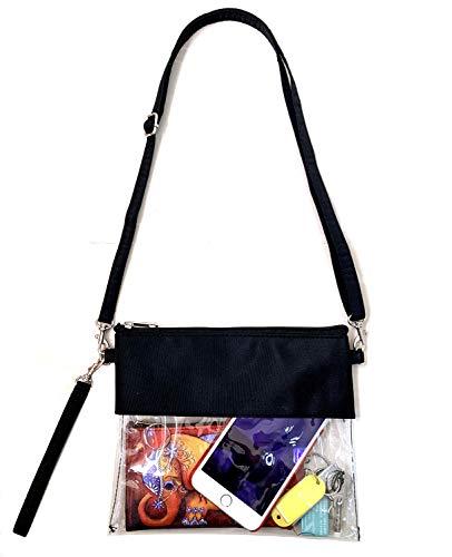 KOSTOO Klare Crossbody-Handtasche - Klare Wasserdichte Einkaufstasche - Transparente Kunststoff-PVC-Tasche - Reisekosmetik organisieren Tasche for Frauen Mädchen Arbeit, Schule, Sportspiele