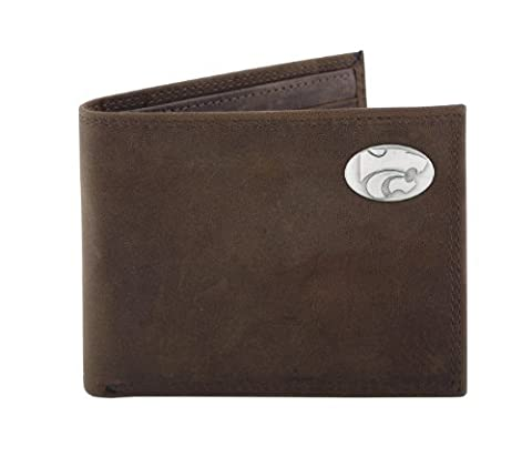 NCAA Kansas State Wildcats Zep-Pro Crazyhorse Leather Bifold Concho Wallet, Light Brown by ZEP-PRO