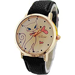 Vovotrade bastante gato mujeres faux correa de cuero banda analógica cuarzo reloj de pulsera (e)