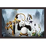 Mad Masters Kung Fu Panda With His Team And Master Shifu 1 Piece Wooden Framed Painting |Wall Art | Home Décor | Painting Art | Unique Design | Attractive Frames