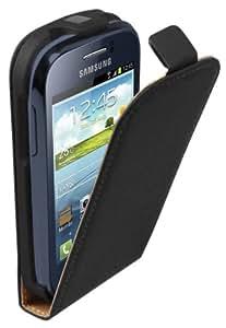 Membrane Ultra Slim Noir Cuir Étui Coque compatible pour Samsung Galaxy Young (GT-S6310 / S6312