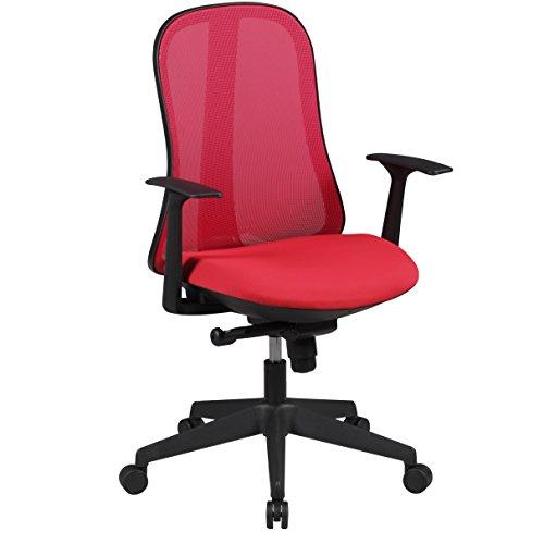 AMSTYLE Bürostuhl STYLE Stoffbezug Schreibtischstuhl höhenverstellbar Armlehne ergonomisch verstellbar rot Chefsessel Design 120kg Drehstuhl Synchronmechanik hohe Rücken-Lehne XXL Hochlehner Stoff
