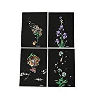 HINK 4pcs 20x14cm Magic Scratch Art Painting Paper With Drawing Stick Kids Toy Toys and Hobbies Big Sales