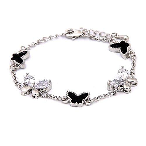 HYHAN Elegante nuovo set zirconi farfalla braccialetto , silver money