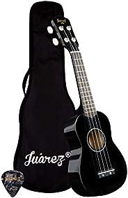 "Juarez Junior 21"" Soprano Ukulele, Linden Wood Top & Body, Nylon Strings, Chrome Open Machine, Rosewo"