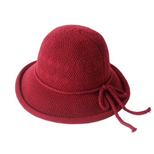 BAOGUAN Weibliche Winter Chic Fisherman Hat Gestrickte British Style Bow Basin Cap Warme Wollmütze (Color : Burgundy, Size : OneSize) -