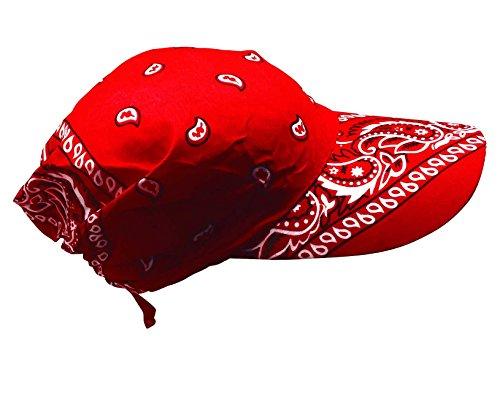 Preisvergleich Produktbild Rotes Paisley Muster auf Bandana Cap mit Schirm