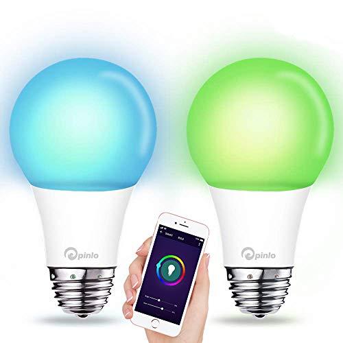 Smart Lampe WiFi LED Glühbirne 10W E27 Dimmbar Leuchtmittel 1050LM RGBW Mehrfarbige WLAN Bulb kompatibel mit Amazon Alexa Google Home IFTTT, App und Sprachsteuerung - 2 St