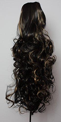 Elegant Hair - 56 cm / 22 pouces queue de cheval frisé – Noir / mèches blondes #1b/H27 - Clip-in pièce de extensions de cheveux réversible - Avec griffe-clip - 30 Couleurs - 250g