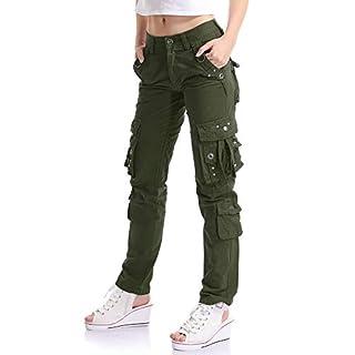 OCHENTA Women Workwear Uniform Combat Cargo 8 Pockets Security Trousers Army Green Lable 34-UK 14