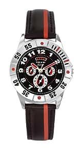 Trendy Junior - KL 180 - Montre Mixte - Quartz Analogique - Cadran Noir/Rouge - Bracelet Cuir Noir