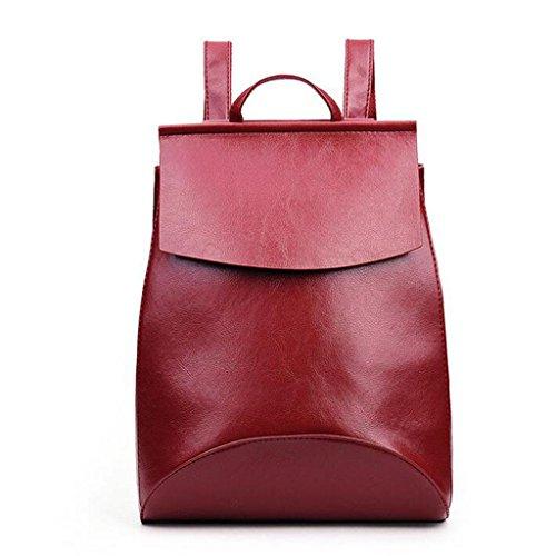 Y&F Schultertaschen Rucksack Handtasche Rucksack Schulranzen Leder 28 * 35 * 13 Cm Red
