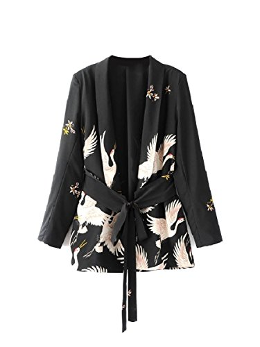 CuteRose Women Belted Design Blazer The Crane Long Sleeve Kimono Cardigan Black M -