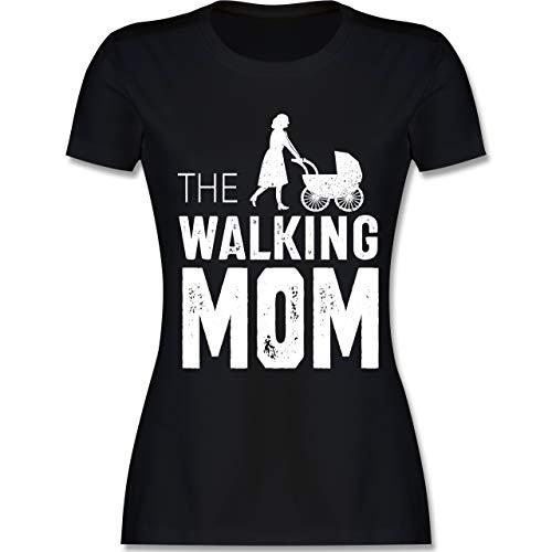 Muttertag - The Walking Mom weiß - M - Schwarz - L191 - Damen Tshirt und Frauen T-Shirt - Armee Mom Weißes T-shirt