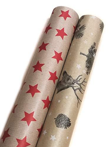 Premium Geschenkpapier Retro Ökologisches Recycling Papier 2 Rollen a`5m x 70cm Natur Geschenkverpackung für Weihnachten Geburtstag Kraftpapier (Stern/Wald)