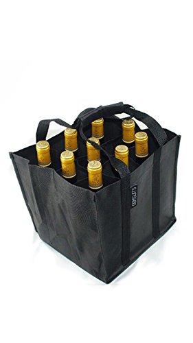 Dom'Suits BIG Bottlebag / Flaschentasche extra groß für bis zu 9 Flaschen je 1,5 Liter - Flaschenträger mit verstärktem Griff - einfach zu verstauen - 28x28x28cm - in schwarz