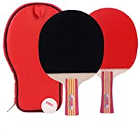Xianw Raqueta De Ping Pong Profesional Traindle Paddle Advanced Trainning con Estuche De Transporte, Hoja De Madera De 7 Capas con Mango Largo,B