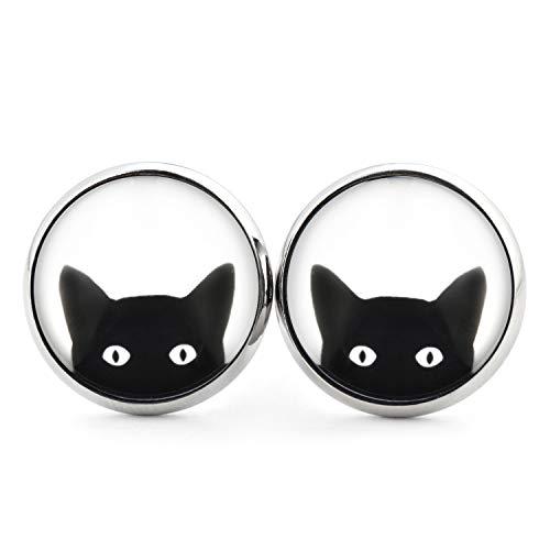 SCHMUCKZUCKER Damen Ohrstecker Motiv Freche Katze Modeschmuck Ohrringe silber-farben schwarz weiss ()