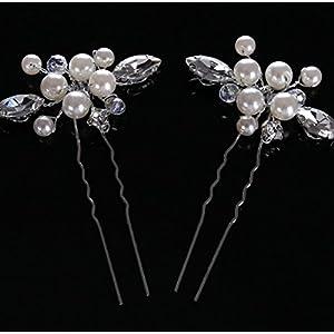 CYY Braut Kopfschmuck Legierung Perle Diamant Haarnadel Brautschmuck Zubehör