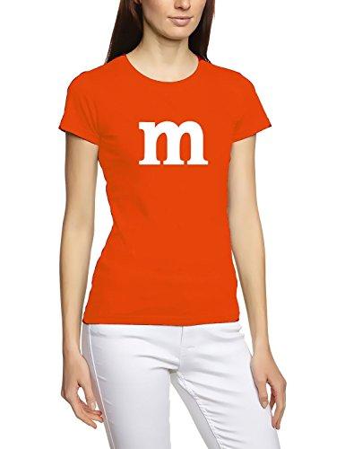 Damen mit M Aufdruck ! Girly T-Shirt orange (Kostüme Smarties)