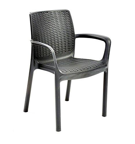 Keter Bali im Garten Möbel Stühle zum Stapeln–Graphit