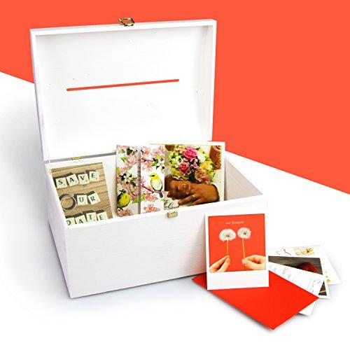 Cofre de boda de madera con ranura para letras para regalos - Lacado blanco de pino - aproximadamente 35 x 25 x 18 cm - Grinscard