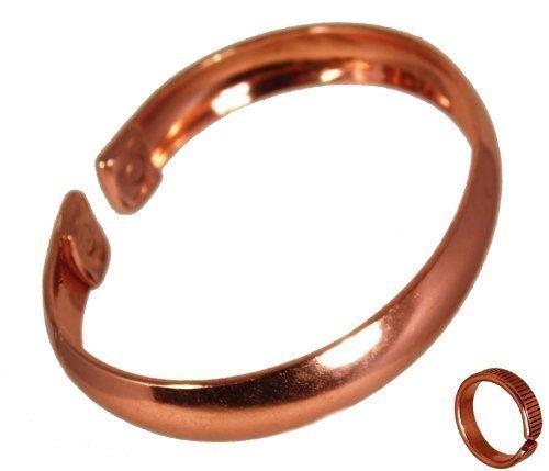 91f63bcffef0 The Online Bazaar glatte Oberfläche Unifarbe Kupfer magnetisch Band für  Herren oder Damen mit geätzten liniert