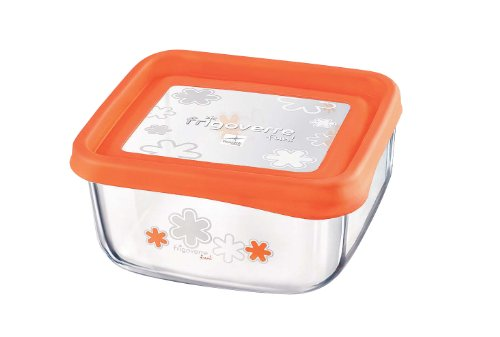 BORMIOLI ROCCO Rocco Bormioli Frigoverre 87870 Fun Carré Verre Bouchon Orange 15 x 15 cm