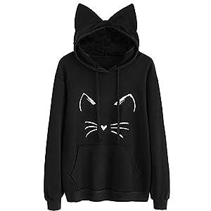 Frauen Langarm Pullovershirt Mode Sweatshirt Oberteile mit Katzenohr Kapuze Damen Herbst Casual Sweatjacke Pullis Sport Hoodie Blusashirt