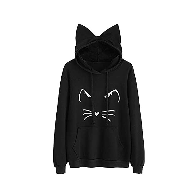 LuckyGirls Mode Femme Nouveau Automne Hiver Sweatshirt Femmes Impression de  Chat   007c59e25a1