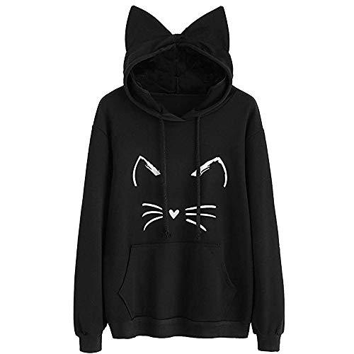 MIRRAY Damen Katzenohr Katze Cat Drucken Langarm Hoodie Sweatshirt mit Kapuzenpullover Pullover Tops (Günstige Rapunzel Kostüm)