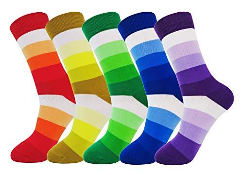 FULIER Mens 5 Pack Baumwolle Rich Smart Design Bunte bequeme Kleid Calf Socken UK 6-13 EUR 39-47 (Bright-stripe) - Farbe Baumwolle Kleid Socken