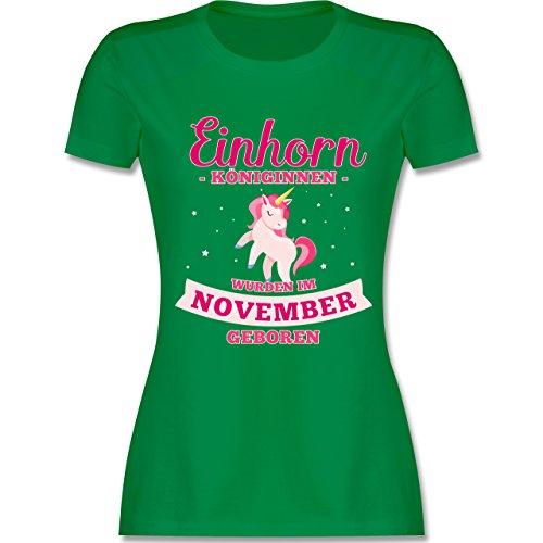 Geburtstag - Einhorn Königinnen Wurden IM November Geboren - Damen T-Shirt Rundhals Grün
