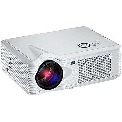 Adeneng® Mini LED proyector 4000 lúmenes portátil proyector del teatro casero (blanco, Y8)