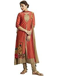 Payal Womens Orange Chanderi Kora Silk Kurta Churidar Set With Dupatta