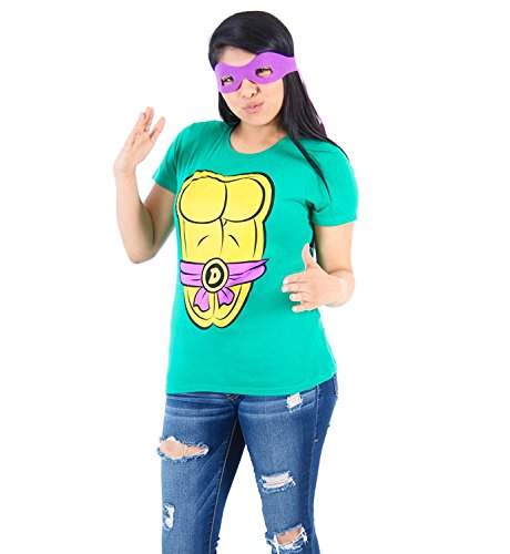 Mighty Fine TMNT Teenage Mutant Ninja Turtles Donatello Kostüm Grün Damen T-shirt Tee (Damen (Turtles Teenage Ninja Violett Mutant)
